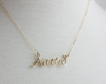 Amore Necklace, 14K Gold Fill, Love Necklace, Name Necklace, French Silver Word Necklace, Personalized Necklace Wire Wrapped Jewelry Gifts