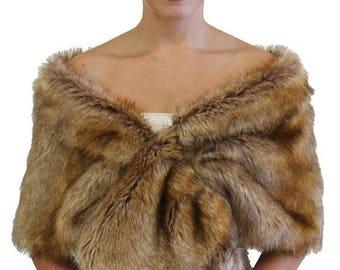 Summer Salw Faux fur stole Vintage Brown, Bridal fur stole, faux fur wrap, shrugs boleros wraps 800M-VBRN