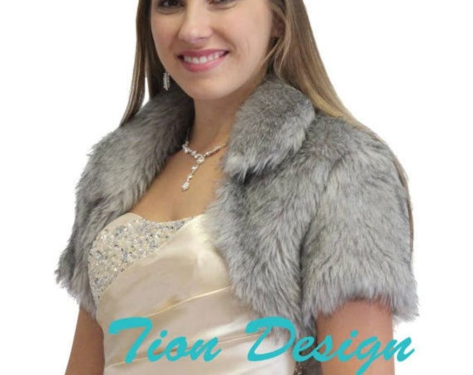 Pre Thanksgiving Sale Bridal bolero, Silver Faux Fur Bolero Crop Jacket For women 680NF-silver, Faux fur shrug, Faux fur cape