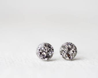 Silver Gray Tone Druzy Studs - Metallic Shimmer - Faux Raw Crystal Post Earrings - Sparkling Jewelry BUY 2 GET 1 FREE