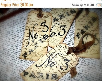 French Inspired Grungy Hang Tags - Paris Cottage Chic