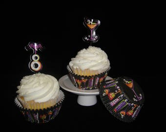 Drink Your Treat Cupcake Liners and Cupcake Picks, Halloween, Halloween Party, Kids Party, Halloween Cupcakes, Pirate Party - Quantity 25