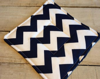 Pot Holder, Hot Pad, Potholder, Fabric Pot Holder, Fabric Hot Pad, Oven Potholder, Oven Hot Pad, Kitchen Potholder-Navy Chevron