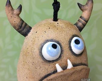 """Monster Bell """"Greg""""- handmade ceramic windchime tentacles fun garden art gift"""
