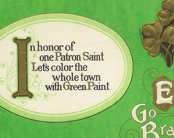 Vintage St Patrick's Day Postcard Kelly Green Background Gold Four Leaf Clover and Fun Verse – Erin Go Bragh 1924
