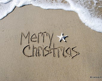 Merry Christmas, Writing in the Sand, Instant Download