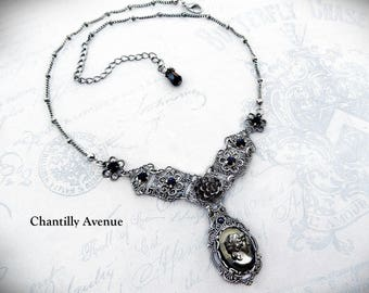 Jet Victorian Necklace, Jet Gothic Necklace, Victorian Jewelry Mourning Necklace, Gothic Cameo Necklace Silver Gothic Jewelry