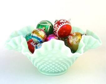 Fenton Pastel Green, Mint, Ruffled Hobnail Bowl, Mint Condition