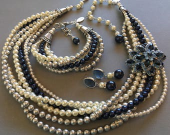 COMPLETE Navy Blue Jewelry Set Necklace Bracelet Earrings and Brooch Pearl torsade multi strand fir the Mother if the Bride blue grey ivory