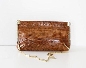 70s Purse • Snakeskin Purse • Vintage Purse • Snakeskin Bag • Evening Purse • Shoulder Bag • Envelope Purse • Vintage Clutch | B891