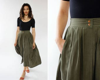 Green Silk Skirt L • 80s Skirt • Tea Length Skirt with Pockets • Pleated Midi Skirt • Flowy Skirt • Vintage Midi Skirt | SK890