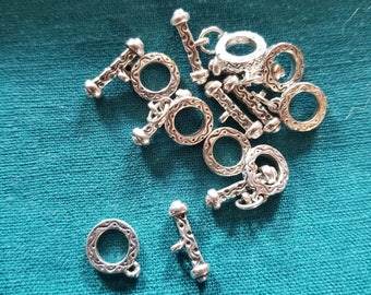 Bulk (8) Cute! Sterling Silver Toggle Clasps - Tiny