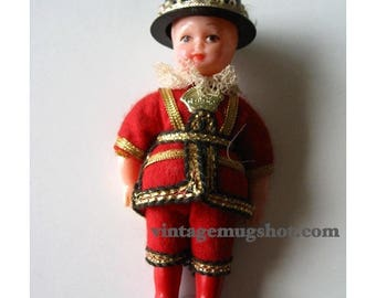 """Christmas In July SALE Vintage CELLULOID DOLL  Very Old Beefeather 4 1/2"""" England"""