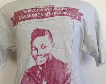 SALE Vintage New Orleans Harmonica Showdown Tshirt