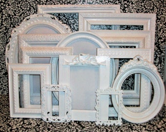 Set of 13 Ornate  Shabby Chic Bright White Ornate Picture Frames for Gallery Wall, Wedding Decor, Nursery Decor