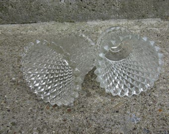 homco diamondlite clear glass votive candle holder pair home interiors diamond pattern