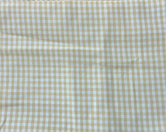 Dark Yellow, Mustard Colored Vintage Cotton Gingham Fabric 1 7/8 Yard X0917
