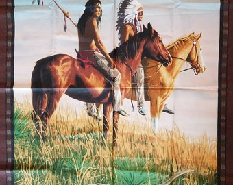 Wallhanging, Mini Quilt Printed Fabric Panel Native American Indian, Horses X1272