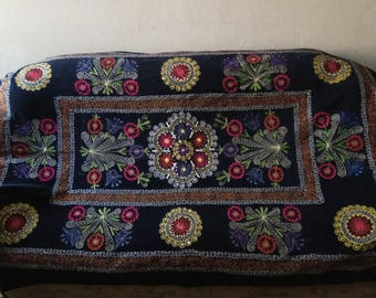 Vintage Uzbek silk embroidery on black velvet suzani. Bed cover, wall hanging, home decor suzani. SW012