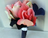 Reserved for - Caren Heller - Coral Navy rose Boutonniere