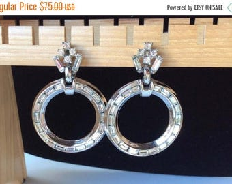 ANNIVERSARY SALE Outstanding Crown Trifari Baguette Circle Earrings - Rhodium Setting