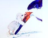 Kaart voor moederdag. Vogel met haar baby. Origineel geschilderde aquarel.
