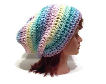 Pastel Rainbow Hat, Kawaii Rainbow Hat, Ombre Rainbow Hat, Slouchy Rainbow Hat, Rainbow Beanie, Rainbow Slouchy Hat, Fairy Kei Hat, Kawaii