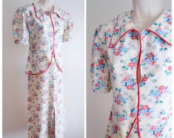 1930s Floral print cream blue red linen peplum day dress / 30s puffed sleeve cotton summer dress - XS