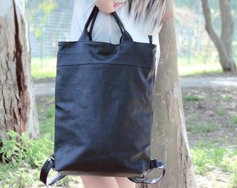 Laptop Backpack purse, handmade backpack, black rucksack, black backpack, Laptop Bags, travel backpack, student backpack, 15 laptop, for her
