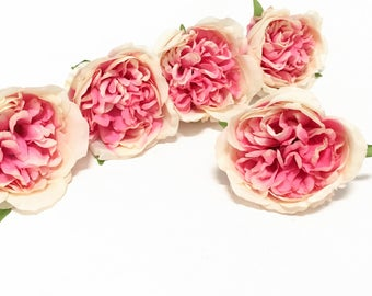 5 Artificial Cabbage Roses in Pink and Cream - Artificial Flowers, Silk Flowers, Flower Crown, Hair Accessories, DIY Wedding, Millinery, Hat