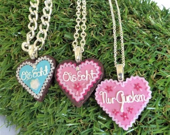 Gingerbread Lebkuchen Heart Cookie Necklace - Mini Takeouts Oktoberfest Special - 100% Handmade