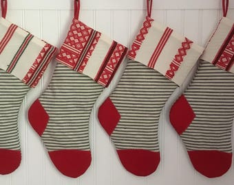 Vintage Ticking Christmas Stocking with Red Woven Nordic Cuff Navy Cream Stripe Classic Christmas Country