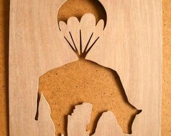 Banksy Cow Parachute Wooden Stencil