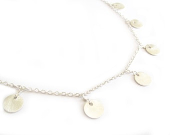 Silver Coin Necklace-layering necklace, dainty, layering jewelry, silver necklace