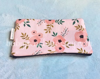 OOAK Pencil Case/Cosmetic Bag - Flowers - Pencil Case - Flowers cosmetic bag - Birthday Gift - Flowers - Ready to ship