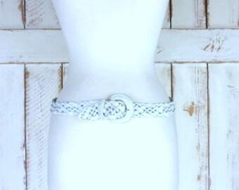 Vintage woven white leather braided belt/boho/hippie leather boho belt/medium