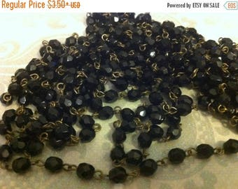 SALE Vintage Style 4mm jet black faceted glass handmade beaded chain rosary style