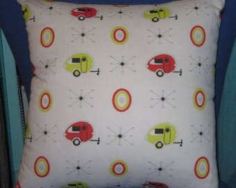"""Camping Pillow 17"""" X 17"""" TAB Teardrop Trailers RED & YELLOW"""