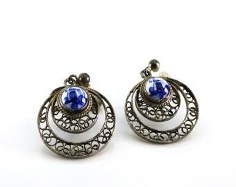 Vintage Delft Silver Filigree Earrings / Screw back