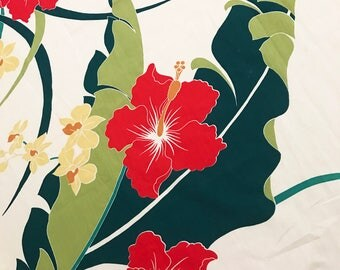 Huge Hawaiian Hibiscus Flowers Leaves Cotton Fabric 5 Yards by 45 inches