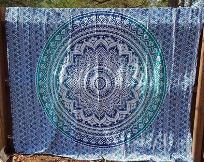 Blue and Green Mandala Tapestry Boho Hippie Tapestry Wall Hanging Beach Blanket Yoga Mat Meditation Mat Dorm Decor Music Festival Tapestry