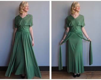 1940s Gown // Emerald Rayon Jersey Gown // vintage 40s gown