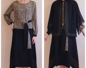 1920s Dress + Jacket Set // Schumann Silk & Wool Dress + Jacket // vintage 20s dress set