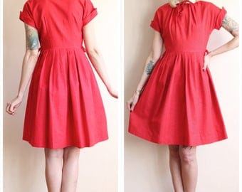 1950s Dress // Christmas Kiss Silk Dress // vintage 50s dress