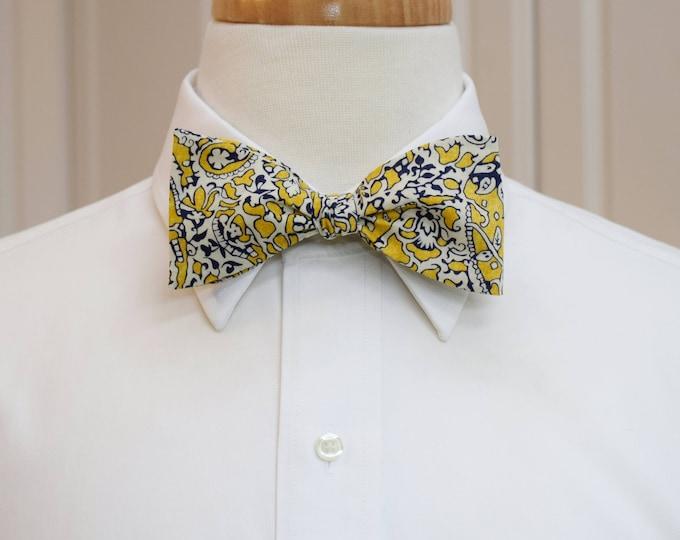 Men's Bow Tie, Liberty of London yellow/navy/ivory paisley Lagos Laurel bow tie, groomsmen/groom bow tie, wedding bow tie, tux accessory,
