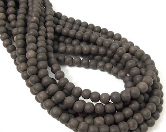 Unfinished Ebony Wood Bead, 6mm - 7mm, Near Black to Dark Brown, Round, Small, Natural Wood Bead, 16 Inch Strand - ID 2355