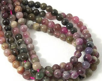Tourmaline, 4-5mm, Multicolored, Round, Smooth, Small, Natural Gemstone Beads, 15.5 Inch Strand - ID 989
