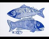 linocut, Big Guys, fish, blue and white, navy blue, fishing, gift for him, printmaking, beach house, blue, white, home interior, seaside