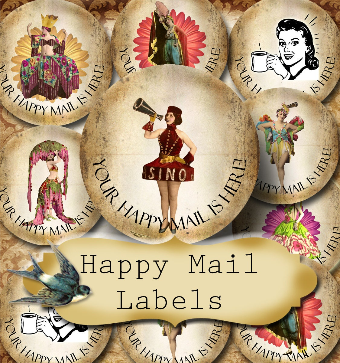 Happy Mail Custom X Round STICKERSRound LabelsTags - Custom stickers and labels