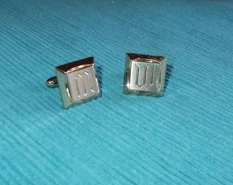 Vintage 1960s / 1970's Hickok Square Cufflinks-Impressed Initial 'M' or 'W'-FREE SHIPPING!